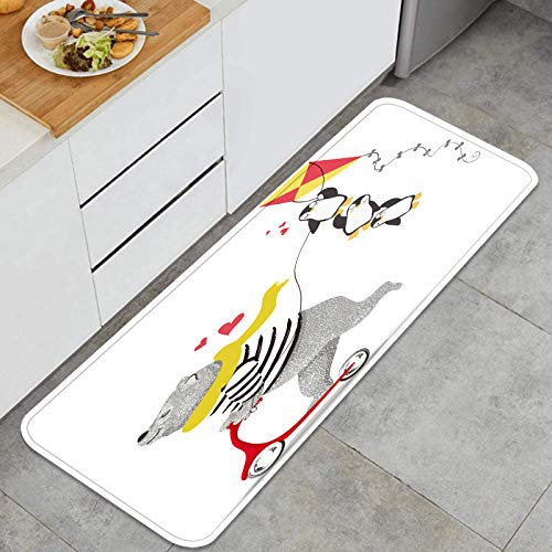 SXCVD Alfombrilla de Cocina Antideslizante Lindo Oso Scooter Divertido diseño de pingüinos Decoración Piso de Alfombra para baño, Sala de Estar, Oficina, fregadero-120cm x 45cm