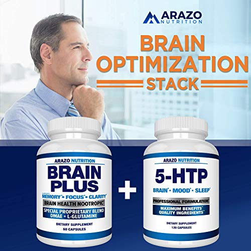 Premium Brain Function Supplement - Memory, Focus, Clarity - Nootropic Booster with DMAE, Bacopa Monnieri, L-Glutamine, Multi Vitamins, Multi Minerals - Arazo Nutrition