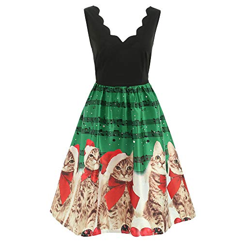 VEMOW Damen Elegantes Cocktailkleid Abendkleid Damen Mode Sleeveless Christmas Cats Musical Notes Print Beiläufig Täglich Vintage Flare Dress(Grün, 40 DE/L CN)