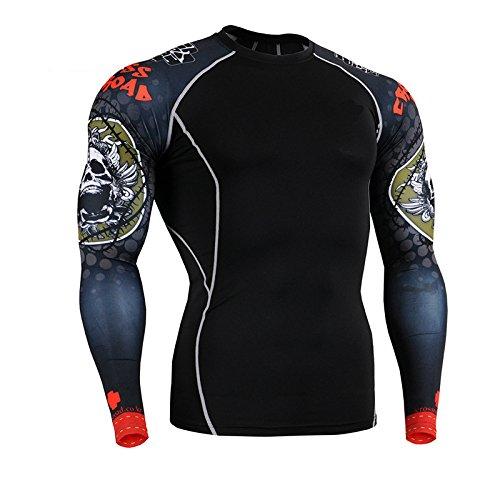 Chuangyi T-Shirt à Manches Longues de séchage Rapide étirement Collants Remise en Forme de vêtements crâne Motif Hommes, Black, m