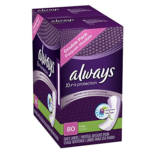 Always Xtra Protection Daily Feminine Panty Liners for Women, 320 Count, Long Length (80 Count, Pack of 4-320 Count Total)