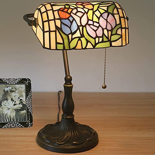 sgvaga Lámpara de mesa estilo Tiffany, base de aleación, retro, lámpara de escritorio, lámpara de biblioteca,...