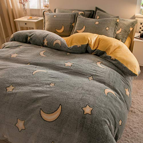 TIANENG Duvet Cover Sets Thick Double-sided Fleece Super Soft Fluffy Bedding Set Easy Care Winter Cartoons Printing Set Of 4 Piece