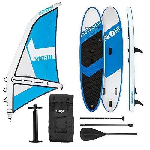 Klarfit Spreestar WL - Paddle Surf con o Senza Vela, Tavola da SUP Gonfiabile, Set Completo, 300x10x71 cm, Vela 5,2 m, Pompa, Zaino per Il Trasporto, Kit diRiparazione, Blu/Bianco