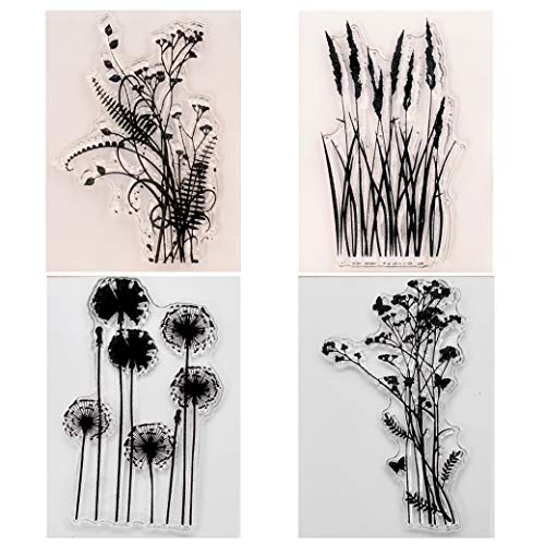KWELLAM 4pcs/Lot Dandelion Lavender Flowers Leaves Stamp Rubber Clear Stamp/Seal Scrapbook/Photo Album Decorative Card Making Clear Stamps