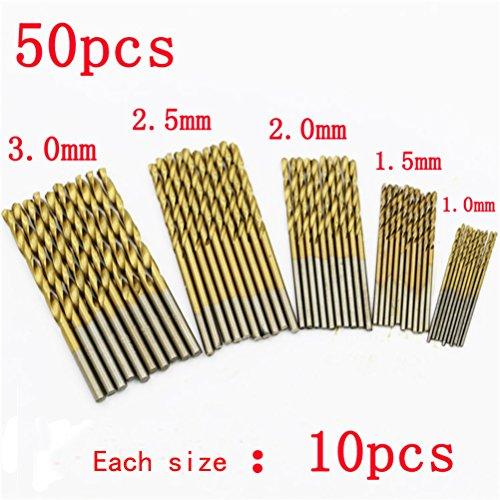 High Speed Steel Drill Bit Set Tool in titanio rivestito di 50pcs 1/1,5/2/2,5/3mm
