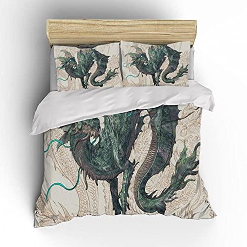 Estilo Chino Verde DragóN Juego De Cama Vintage 3D Animales MíTicos Impreso Funda Nordica Adulto Adolescente PoliéSter Hogar Textiles, 260x220cm, 3 Piezas (1 Funda NóRdica 2 Funda Almohada)
