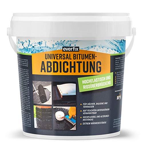 EVERFIX Bitumen Abdichtung - hochelastische Dichtmasse, rissüberbrückend - zum Abdichten und Reparatur von Dach Keller etc. (1 kg)