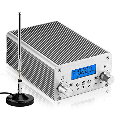 PLL FM Transmitter for Church,FM Wireless MP3 Broadcast Radio Stereo Long Range 1000m Bluetooth PC Controlled for Parking Lot Service, Outdoor Drive-in Movie