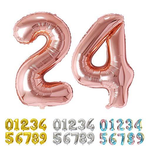 Ponmoo Rosegold Luftballon Zahlen 24 / 42 0 1 2 3 4 5 6 7 8 9 10 to 30 40 50 60 Riesige Folienballon Zahl Geburtstagsdeko, Deko zum Geburtstag Folienluftballons Dekoration Birthday Heliumdeloono