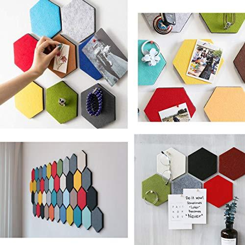Voelde Hexagon Board Tegels met Volledige Sticky Back, Pin Board, Maak uw zeer eigen muur Bulletin Board overal in uw huis om een Handige plek om notities foto's Doelen Foto's Tekenen - 1 Stks Grijs