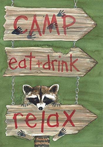 Camp, Eat + Drink Relax Raccoon Garden Flag