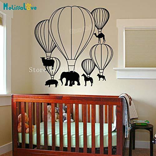 Etiqueta engomada de la pared del vinilo del elefante cómico de dibujos animados globo de aire caliente animal decal decoración del hogar niños habitación del bebé jardín de infantes mural lindo