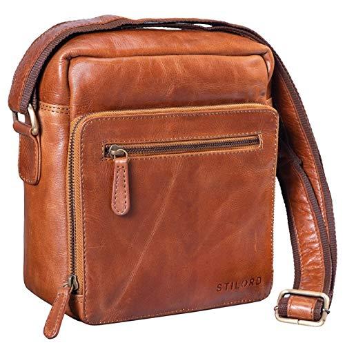 STILORD 'Nathan' schoudertas mannen leer kleine bruine vintage mannen tas 10,1 inch lade tas voor iPad echt leer, Kleur:cognac - glimmend