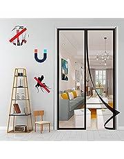 Magnetische vliegenscherm deur, magnetische deur gordijn handsfree instant mesh mug insect net gordijn, voor keuken slaapkamer Etc-zwart 1||140x230cm (55x90inch)