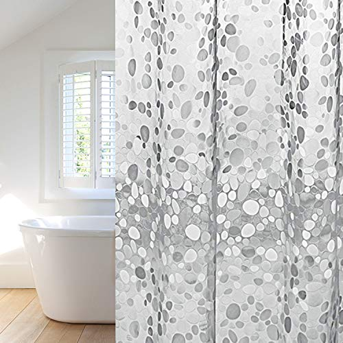Duschvorhang 180x200cm transparent, Anti-Schimmel, Wasserdicht Badvorhang an Badewanne Antibakteriell, 0.2mm weiß für Dusche 3D Steinmuster, 100prozent Eva, inkl. 12 Duschvorhangringen kinderfre&lich
