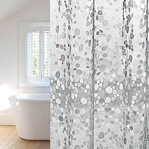 Duschvorhang 180x200cm transparent, Anti-Schimmel, Wasserdicht Badvorhang an Badewanne Antibakteriell, 0.2mm weiß für Dusche 3D Steinmuster, 100% Eva, inkl. 12 Duschvorhangringen kinderfreundlich