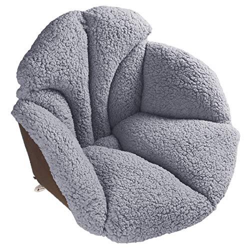 Hughapy Chair Cushions Desk Seat Cushion Warm Comfort Sherpa Wool Seat Cushion Pad for Support Waist Backrest, Winter Plush Cushion for Home Office Chair, Car Seat (Sherpa |19Wx16Lx16H, Khaki)