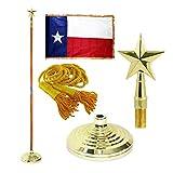 Super Tough Texas 3ft x 5ft Flag, Flagpole, Base, and Tassel (Texas Star, 8 Ft Pole)