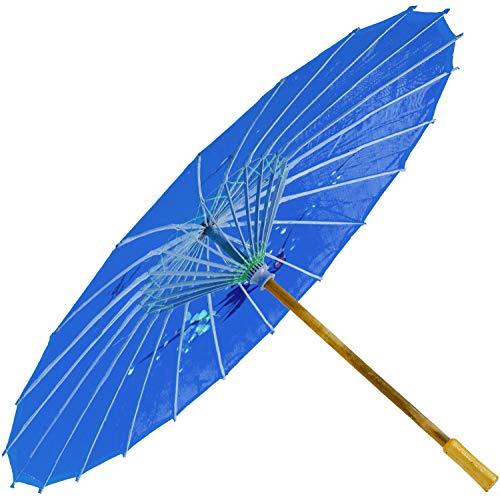 Chinesischer Schirm | Regen- & Sonnenschirm | authentische Bemalung in Handarbeit | Bambus Holz und traditionelle Bespannung: Farbe: blau