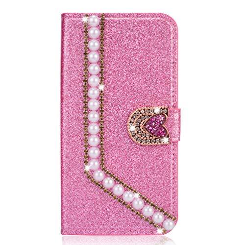 Miagon Hülle Glitzer für Huawei Mate 20 Pro,Luxus Diamant Strass Perle Herz PU Leder Handyhülle Ständer Funktion Schutzhülle Brieftasche Cover,Rosa