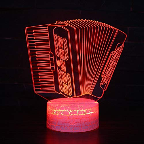 LED Night Light with Musical Instrument Accordion Pattern,7 Colors Changing with USB Cable,Touch Remote Control, Best for Children Gift Baby Bedroom and Party Decorations.