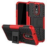 LFDZ LG Q7 Tasche, Hülle Abdeckung Cover schutzhülle Tough Strong Rugged Shock Proof Heavy Duty Hülle Für LG Q7 Smartphone (mit 4in1 Geschenk verpackt),Rot