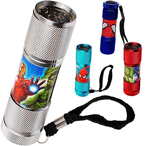 alles-meine.de GmbH Taschenlampe LED - Avengers & Spider-Man - aus Metall - Mini Lampe / Schlüsselanhänger - 9 Fach LEDlicht - Licht Auto Kindertaschenlampe für Jungen - Metallta..