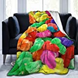 Fleece Plush Throw Blanket Comforter Lovely Colorful Bright Painted Chicks Faux Fur Soft Cozy Warm Fluffy Lightweight Microfiber Fuzzy Twin Blanket for Bed Couch Sofa Chair Fall Nap Travel Camp Picnic