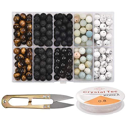 Kit de cuentas de piedra natural hechas a mano, cuentas redondas para hacer pulseras, pendientes de bricolaje, hallazgos de joyería-D