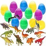 Sanlebi 12 Uovo di Pasqua Plastica con Piccolo Dinosauri, Uovo di Pasqua Giocattolo da Riempire Dinosauro per Ragazzi e Ragazze