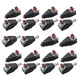 Senven® 20 Pcs profesional conector DC Power Jack & Tipo botón sin tornillos Quick Wire Connector 5,5 mm x 2,1 mm DC para tiras LED de 12 V/24 V, Cámara CCTV y más