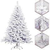 Arcoiris Árbol de Navidad Artificial Acebo, Natural Verde, Material PVC, Soporte deMetal (120CM, Arbol Navidad Blanco)