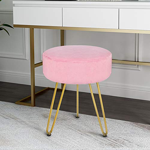 Scriptract - Poggiapiedi rotondo in velluto, sedia moderna da toeletta, sgabello con gambe in metallo dorato per soggiorno, camera da letto, colore: rosa