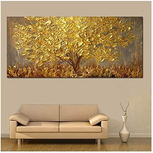 Pittura ad albero in oro 3D Paesaggio moderno Quadro su tela Immagine per soggiorno 70x140 cm Con cornice gialla