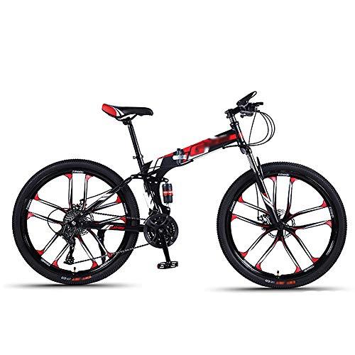 CXSMKP Plegable Bicicletas Plegables Adulto 26 Pulgadas Rueda, 10 Habló Mini Ligero Moma Bikes, Doble Freno De Disco Completo Suspensión Antideslizante MTB Plegable (Negro),30 Speed