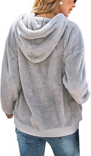 Bwiv Women's Baggy Fluffy Pullover Hoodie Soft Teddy Fleece Jumper with 1/4 Zipper and Drawstring for Winter Ladies Long Sleeves Sweatshirt Soft Tops Girls Light Grey L