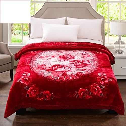 Couvertures Rouges de lit de Chambre à Coucher de de Motif Floral gaufrant Le processus Doux et Confortable Taille: 200 * 230cm