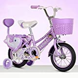 12 Inch,14 Inch,16 Inch,18 Inch Kid's Bike, Steel Frame Children Bicycle Little Princess Style, with Training Wheel, Stabilisers and Basket (Color : Purple-a, Size : 18inch)