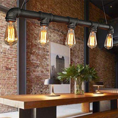 SENDERPICK Vintage Retro Pendelleuchte, Industrie Kronleuchter Deckenlampen E27 Retro Wasserrohr Pendelleuchte Hängelampe Loft Lampe Leuchte