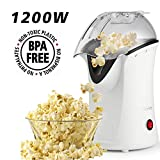Hot Air Popcorn Popper, Home Popcorn Maker Air Popcorn Machine with Measureing Cup, No Oil Needed (White)
