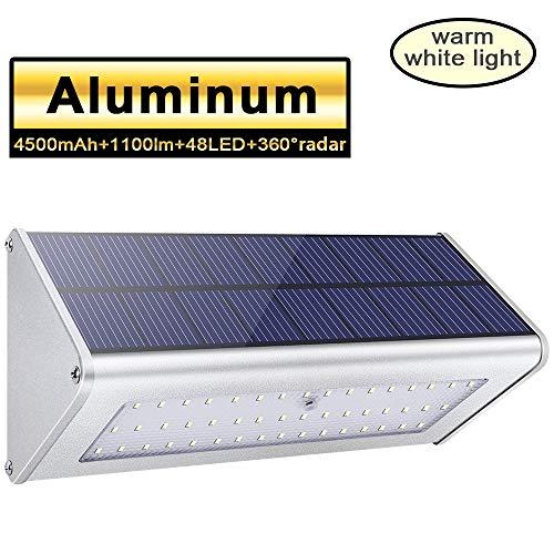 Licwshi Luci solari 1100lm 4500mAh esterna impermeabile lega di alluminio Housing, 48LED radar sensore di movimento per Step, Giardino, Cortile, Deck-Luce bianca calda (1 Pack)