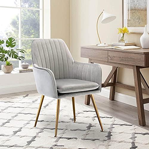 Altrobene Velvet Accent Chair, Home Office Desk Chair, Modern Dinging Chair, Living Room Bedroom Chair, Golden Finished, Grey