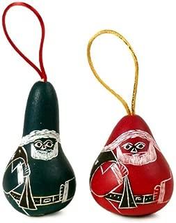 Set of Two Santa Gourd Christmas Ornaments Fair Trade Hand Made Peru