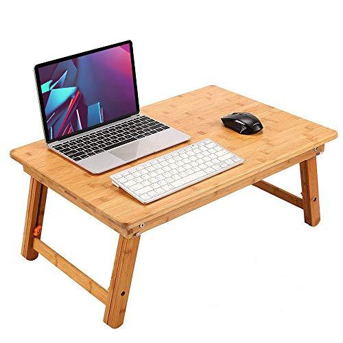 ノートパソコンデスク 竹製 ベッドテーブル ローテーブル 座卓・ちゃぶ台 折りたたみ式 高さ調節可能 多機能 トレーテーブル ナチュラル シンプル デザイン キャンプテーブル 学習 病人テーブル (60*40cm)
