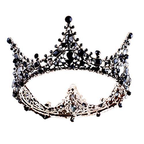 Frcolor Baroque Tiara Braut Kopfschmuck Hochzeit Krone Strass Hairband Headwear (schwarz)