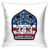 Firefighter 911 Never Forget 343 - Fundas de cojín para sofá, decoración del hogar, 45,7 x 45,7 cm