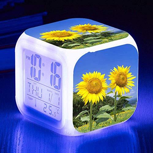 Wake Up Lights USB Girasol LED Reloj Despertador Pantalla Grande Cambio De Color Lámpara De Estado De Ánimo Brillante Reloj Despertador Digital Para Niños Regalos De CumpleañosC