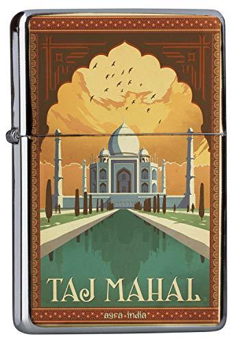 LEotiE SINCE 2004 Chrom Sturm Feuerzeug Benzinfeuerzeug aus Metall Aufladbar Winddicht für Küche Grill Zigaretten Kerzen Bedruckt Abenteurer Taj Mahal Indien Weltwunder
