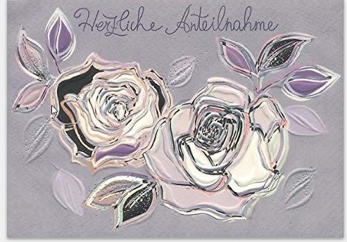 Hochwertige Trauerkarte von Turnowsky mit weißen Rosenblüten und Schriftzug